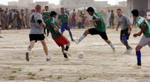 Soldiers Play Soccer in Kirkuk
