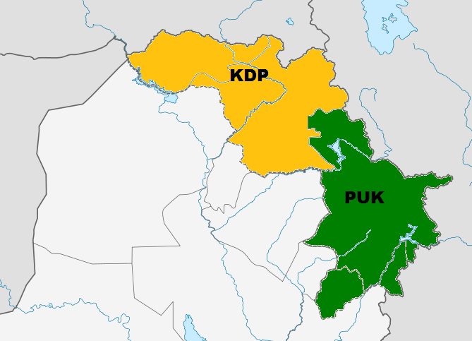 KDP and PUK controlled areas after 1998 Washington Agreement.
