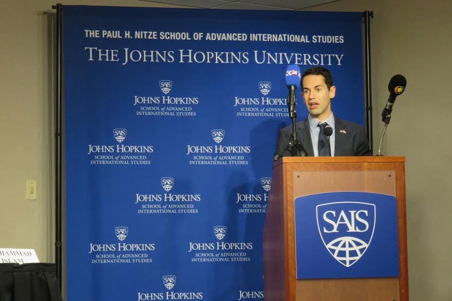 Rebeen Pasha speaks at an event about Kurdistan reinventing itself at Johns Hopkins SAIS